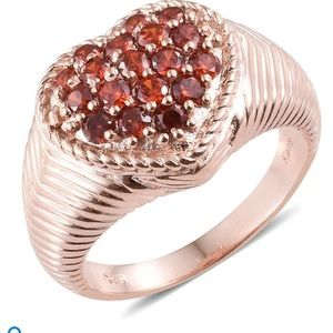 Simulated Red Diamond Heart Ring in ION Plated 18K